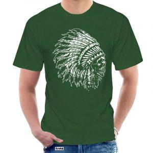 T-Shirt Indien tête de mort homme vert