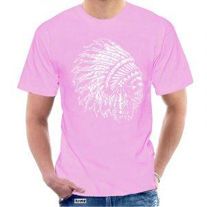 T-Shirt Indien tête de mort homme rose