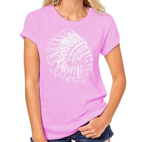 T-Shirt Indien tête de mort femme rose