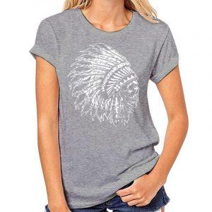 T-Shirt Indien tête de mort femme gris