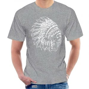 T-Shirt Indien tête de mort homme gris