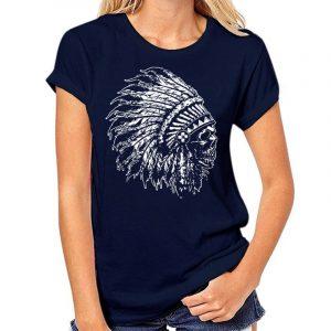 T-Shirt Indien tête de mort femme bleu