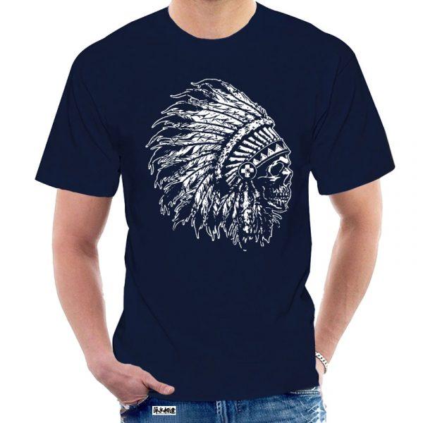 T-Shirt Indien tête de mort homme bleu nuit