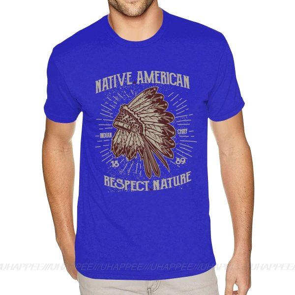 T-Shirt Indien Respect Nature bleu roi