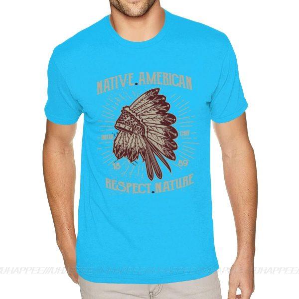 T-Shirt Indien Respect Nature bleu ciel