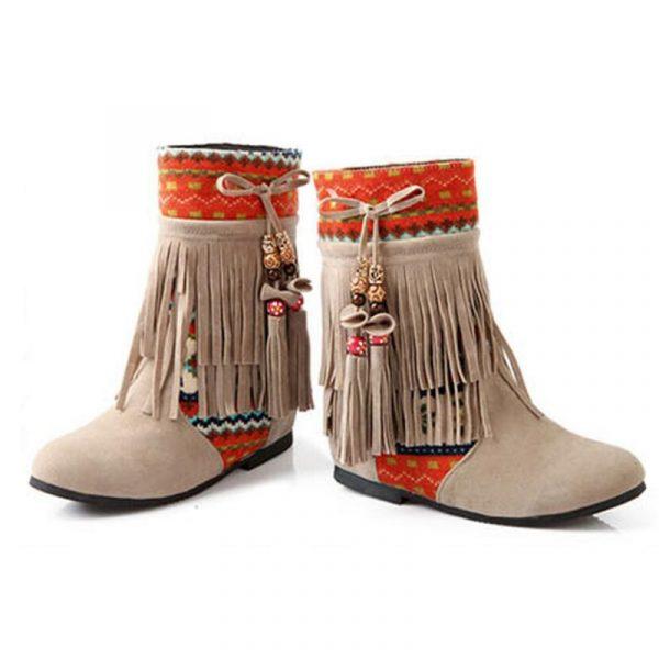 Chaussure Indienne Bottine Ethnique beige