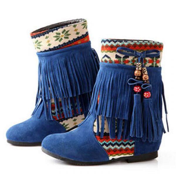 Chaussure Indienne Bottine Ethnique bleu