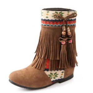 Chaussure Indienne Bottine Ethnique marron