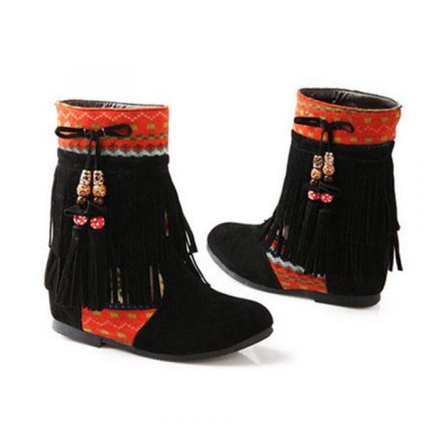 Chaussure Indienne Bottine Ethnique noir
